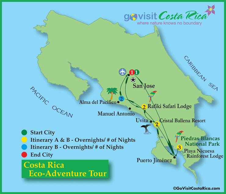 Costa Rica Eco-Adventure Tour Map