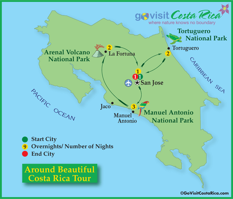 Around Beautiful Costa Rica Tour Map