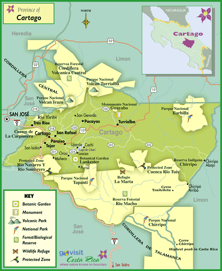 Cartago Region Map Costa Rica Go Visit Costa Rica - Costa rica regions map