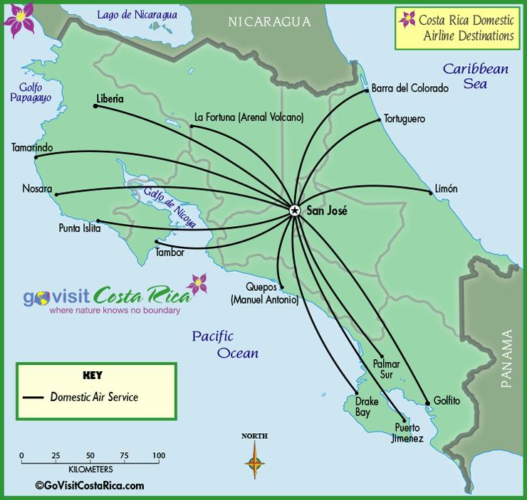 Costa Rica Domestic Airline Map /