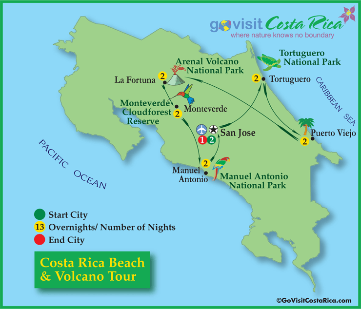 Costa Rica Beach & Volcano Tour Map