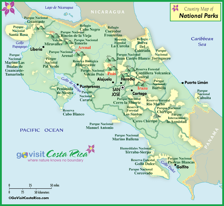 Costa Rica National Park Map Costa Rica Go Visit Costa Rica - Map of costa rica