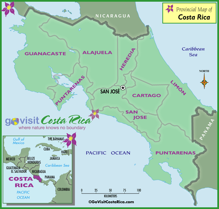 Costa Rica Provinces Map