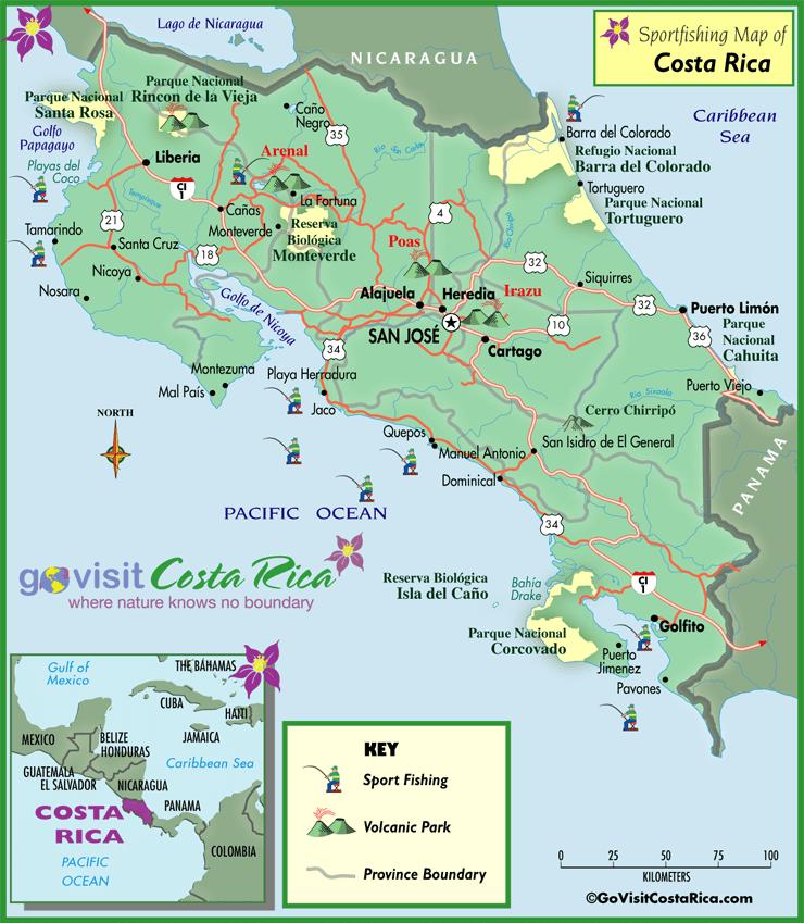 Costa Rica Sportfishing Map
