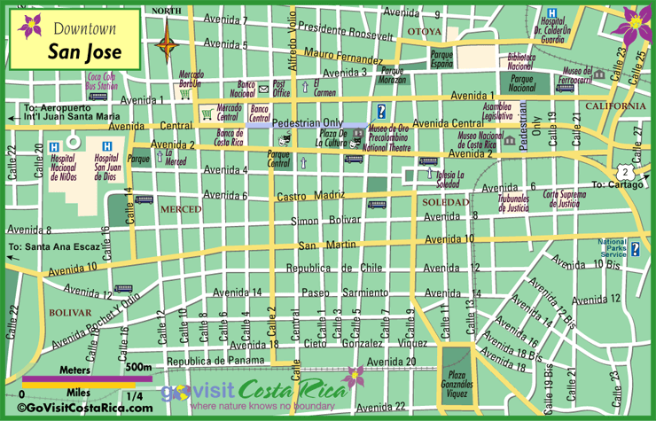 San Jose Downtown Map Costa Rica Go Visit Costa Rica – Tourist Attractions Map In San Jose