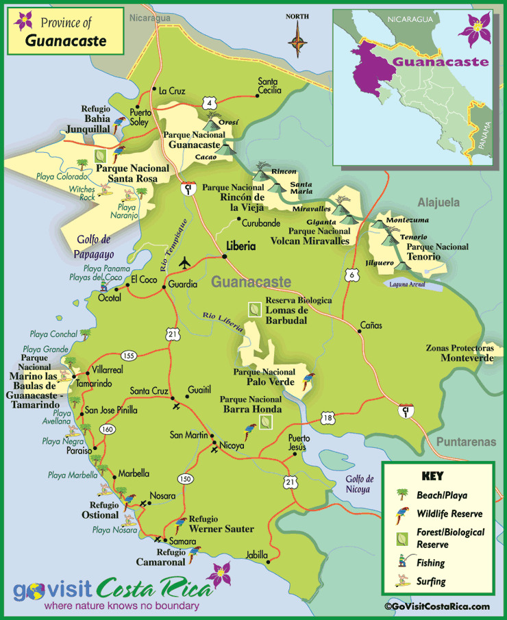Guanacaste Region Map Costa Rica Go Visit Costa Rica - County map of costa rica