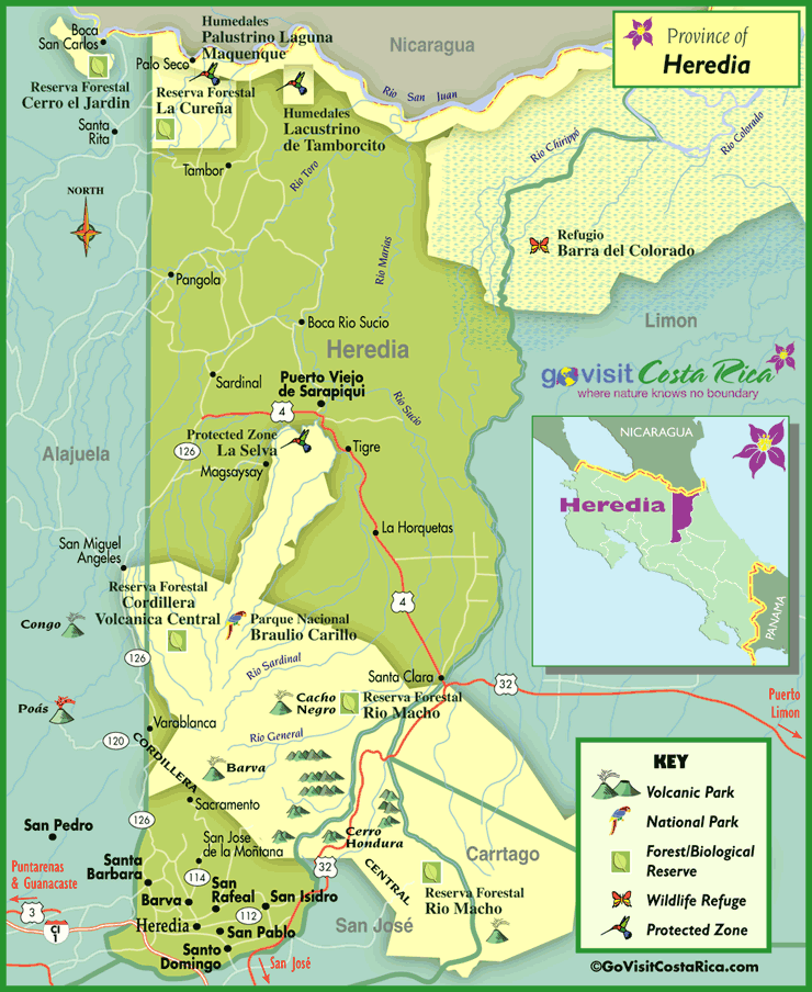 Heredia Region Map Costa Rica Go Visit Costa Rica - Costa rica regions map