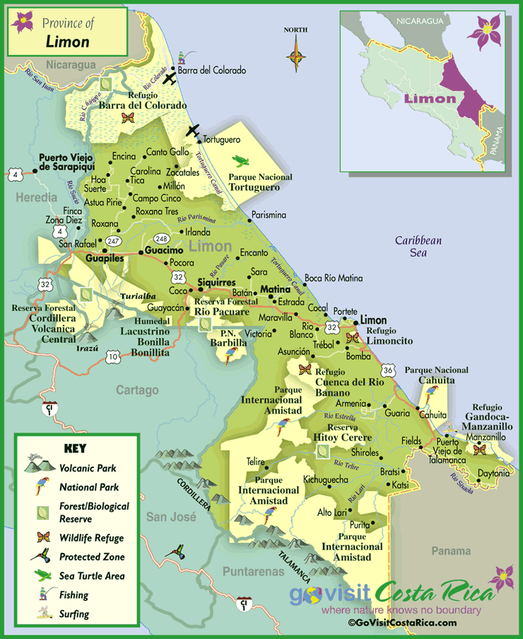 Limon Region Map Costa Rica Go Visit Costa Rica - Costa rica regions map