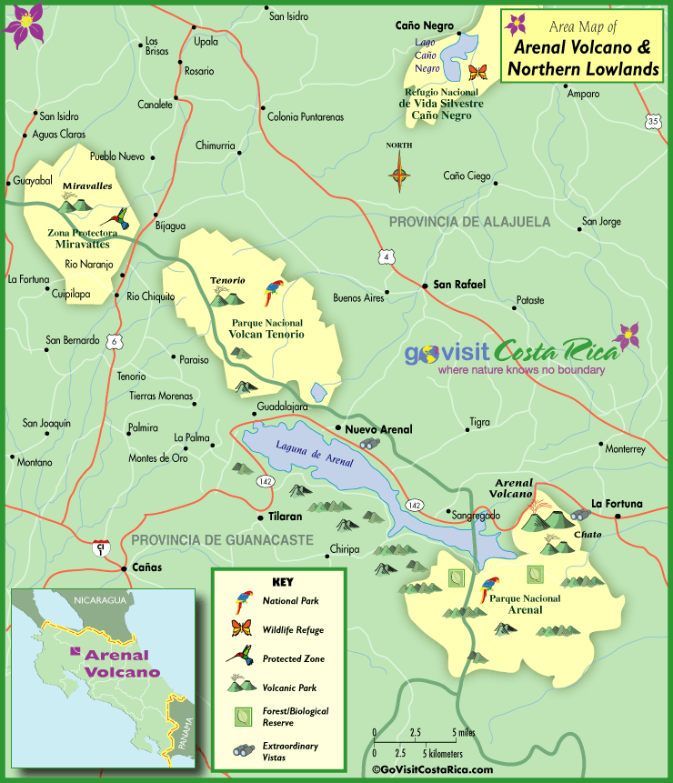 Arenal Volcano & Northern Highlands Map