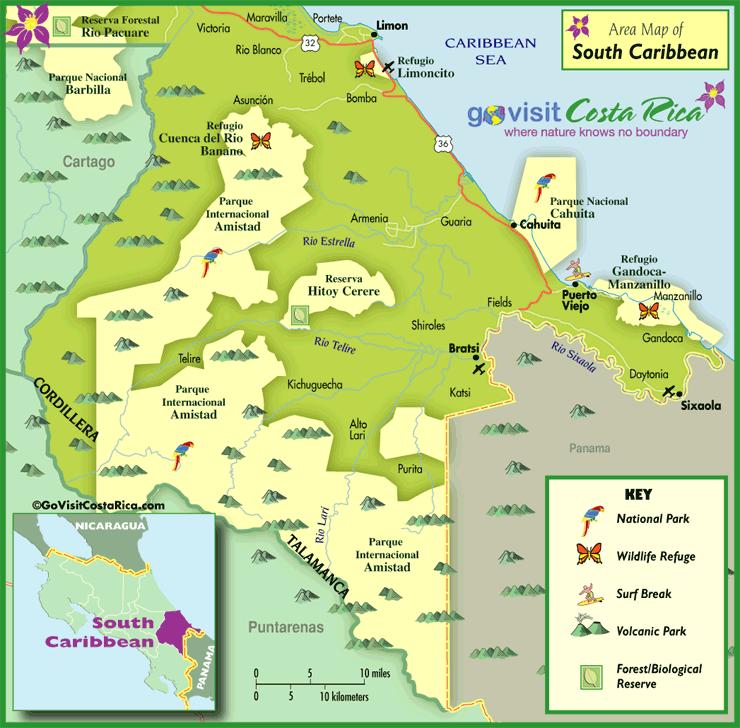Southern Caribbean Map Costa Rica Go Visit Costa Rica