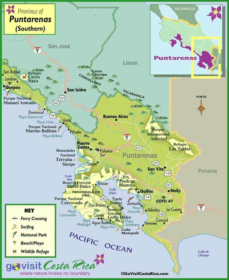 South Puntarenas Map Costa Rica Go Visit Costa Rica – Tourist Map Of Costa Rica