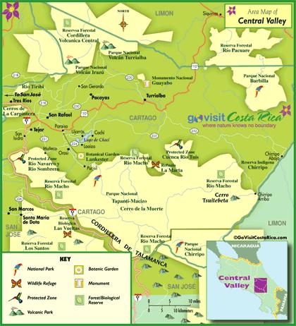 Mapa del Valle Central