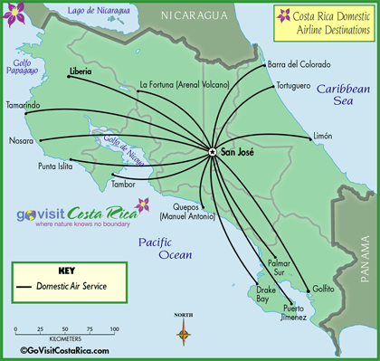 Costa Rica Domestic Airline Map