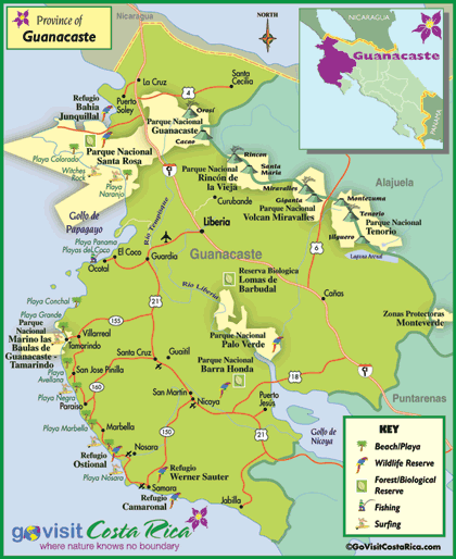 Guanacaste Region Map