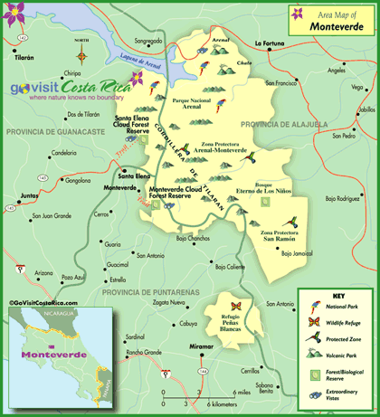 Monteverde Area Map