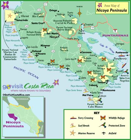 Mapa de la Península de Nicoya