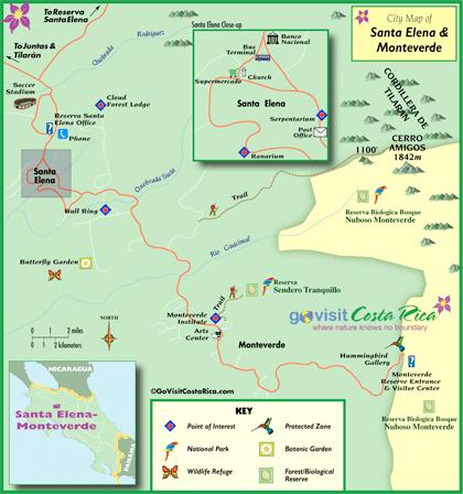 Monteverde / Santa Elena Map