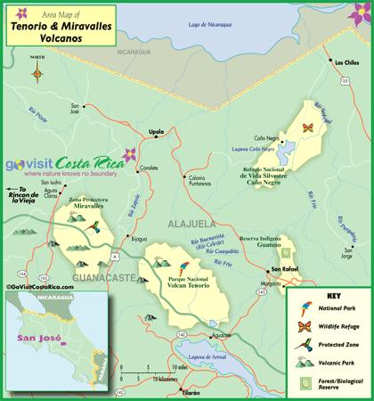 Tenorio & Miravalles Volcano Map