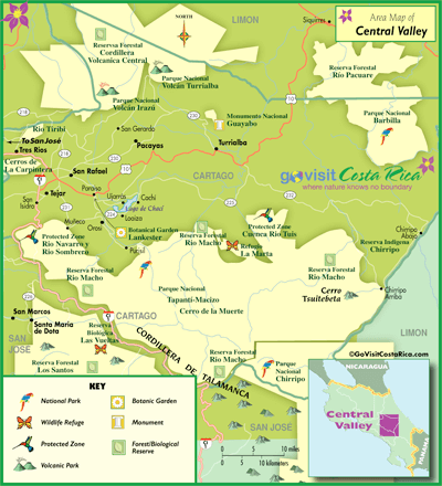 costa rica central valley map Central Valley Map Costa Rica Go Visit Costa Rica costa rica central valley map