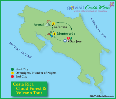 Costa Rica Cloud Forest Volcano Tour Map