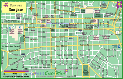 street map of san jose costa rica San Jose Downtown Map Costa Rica Go Visit Costa Rica street map of san jose costa rica
