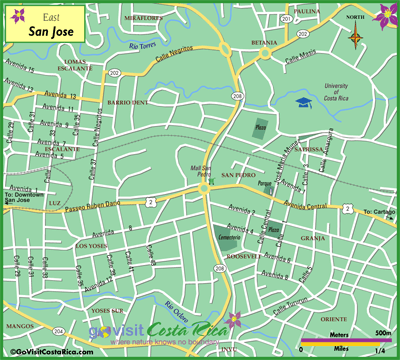 San Jose East Map, Costa Rica - Go Visit Costa Rica