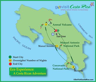 Eco Experience A Costa Rican Adventure Map Costa Rica Go Visit Costa Rica
