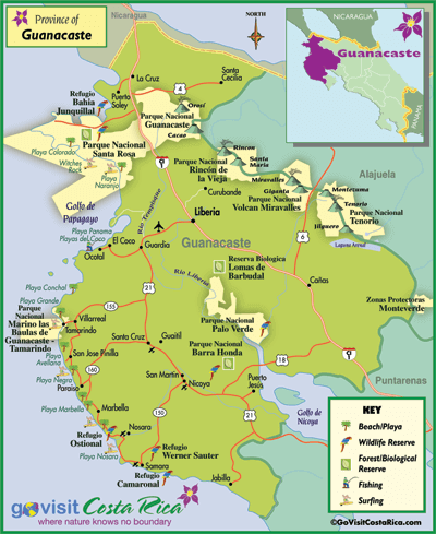 Guanacaste Region Map Costa Rica