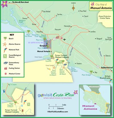 Manuel Antonio Costa Rica Map Manuel Antonio Map, Costa Rica   Go Visit Costa Rica