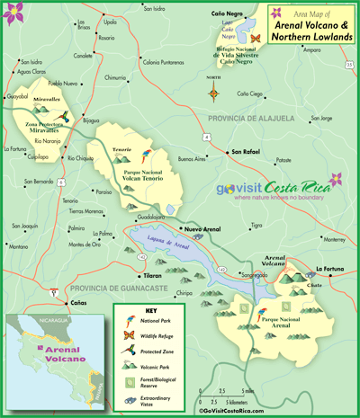 arenal costa rica map Arenal Volcano Northern Highlands Map Costa Rica Go Visit arenal costa rica map