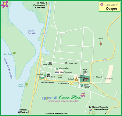graphic relating to Printable Map of Costa Rica named Quepos Costa Rica Cruise Port of Contact