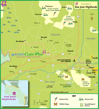 San Jose Highlands Map, Costa Rica - Go Visit Costa Rica