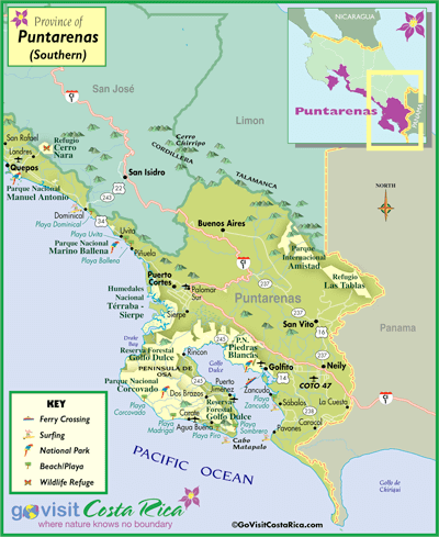 South Puntarenas Map, Costa Rica - Go Visit Costa Rica