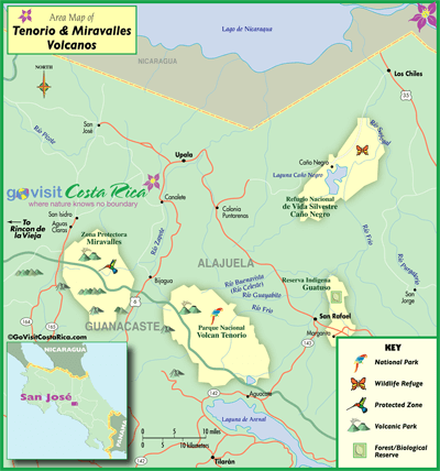 Tenorio Miravalles Volcano Map
