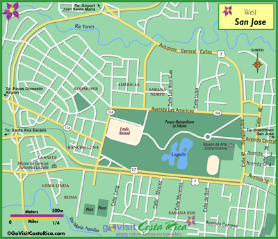 San Jose West Map, Costa Rica - Go Visit Costa Rica