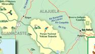 Mapa del Volcán Tenorio y Miravalles