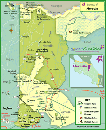 Heredia Region Map