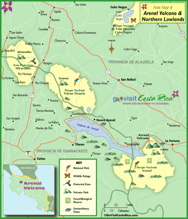 Arenal Volcano Northern Highlands Map